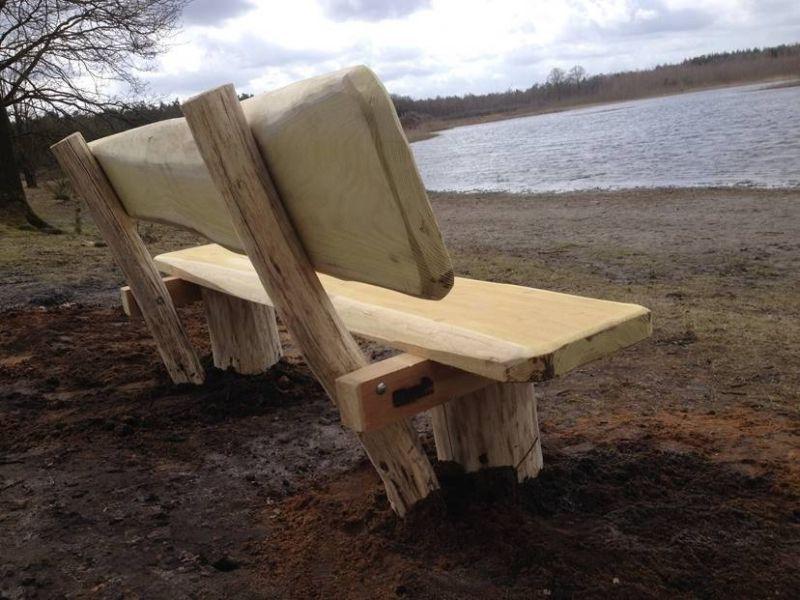 Robiniahout boomstam zitbank - Badkamer natuur hout ...